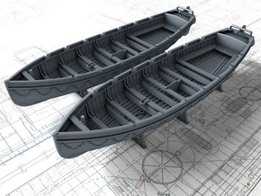 1/200 Scale Royal Navy 32ft Cutters x2 in Smoothest Fine Detail Plastic