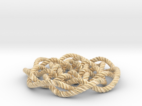 Rose knot 7/5 (Rope with detail) in 14k Gold Plated Brass: Medium