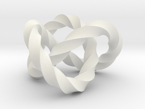 Trefoil knot (Twisted square) in White Natural Versatile Plastic: Extra Small