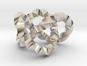 Trefoil knot (Twisted square) in Platinum: Extra Small