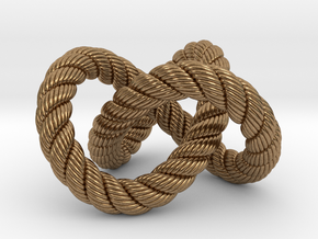 Trefoil knot (Rope with detail) in Natural Brass: Medium