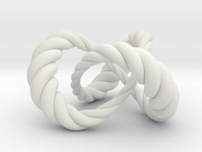 Varying thickness trefoil knot (Rope) in White Natural Versatile Plastic: Medium
