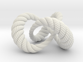 Varying thickness trefoil knot (Rope with detail) in White Natural Versatile Plastic: Medium