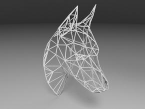 Wireframe Doberman head in White Natural Versatile Plastic