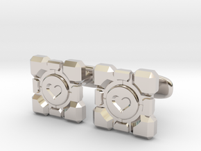 Portal Companion Cube Cufflinks in Rhodium Plated Brass