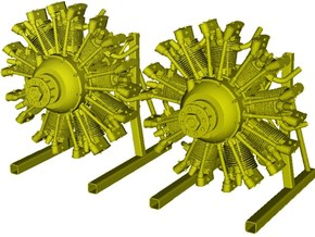 1/15 scale Wright J-5 Whirlwind R-790 engines x 2 in Smooth Fine Detail Plastic
