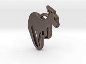 Kangaroo Pendant in Polished Bronzed Silver Steel