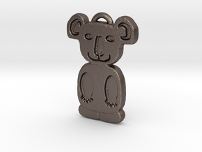 Koala Pendant in Polished Bronzed Silver Steel