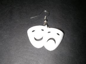 Comedy Tragedy Mask Earrings (pair) in White Natural Versatile Plastic