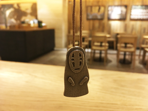 Spirited Away - No Face Pendant & Neclace in Polished Bronzed Silver Steel