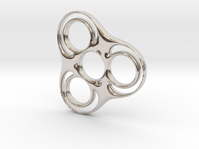 Trefoil Circle Spinner in Rhodium Plated Brass