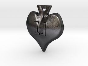 Lucky 13 Spade Earrings in Polished and Bronzed Black Steel