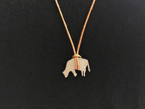 Hanging Cow Pendant  in Polished Bronzed Silver Steel