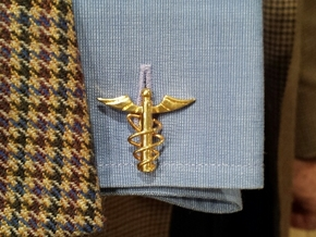 Doctor's Caduceus Cufflinks in 14k Gold Plated Brass