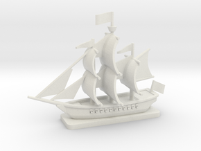 Light Frigate with base, 22 gun: 1/500 scale in White Natural Versatile Plastic