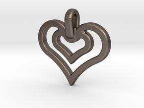heart jewel in Polished Bronzed Silver Steel