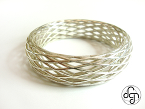Toroidal Knot Bangle in Polished Silver