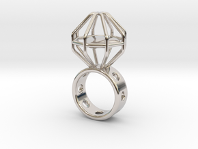 Caged Heart Ring in Rhodium Plated Brass