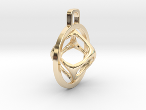 Cube Pendant in 14k Gold Plated Brass