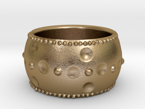 Beaded Ring in Polished Gold Steel