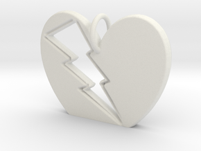 Lightening in your Heart pendant in White Natural Versatile Plastic