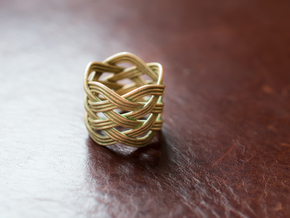 Tall woven ring - Size 7 1/2 in Natural Bronze