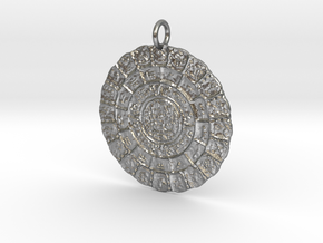 Mayan Dated Stones Pendant in Natural Silver