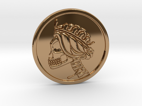Liberty Skull Worry Skill/Challenge coin in Polished Brass