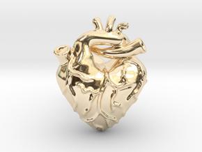 Anatomical Love Heart Cufflink SINGLE in 14k Gold Plated Brass