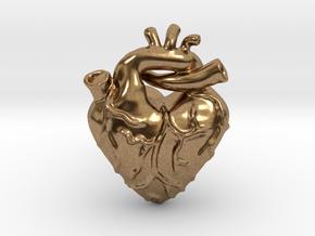 Anatomical Love Heart Cufflink SINGLE in Natural Brass