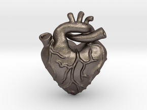 Anatomical Love Heart Cufflink in Stainless Steel