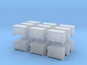 1/200 DKM 8.8cm and 10.5cm Ammo Box Set x18 in Smooth Fine Detail Plastic