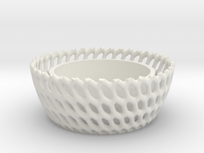 Candel Holder Voronoi Round in White Natural Versatile Plastic