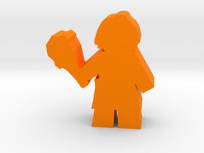 Game Piece, Caveman with Club in Orange Processed Versatile Plastic