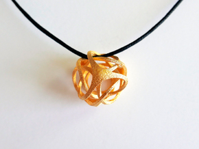 Pendant_Tetrahedron Twist No.2 in Polished Gold Steel