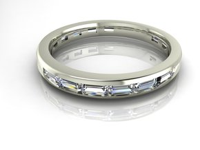 Baguette channel wedding band in Fine Detail Polished Silver