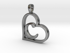 Alpha Heart 'C' Series 1 in Polished Silver