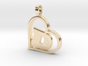 Alpha Heart 'D' Series 1 in 14k Gold Plated Brass