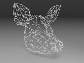 Wireframe pig head in White Natural Versatile Plastic