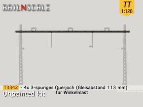 4x Querjoch 3-spurig (TT 1:120) in Smooth Fine Detail Plastic