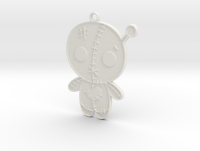 Voodoo Doll Pendant in White Natural Versatile Plastic