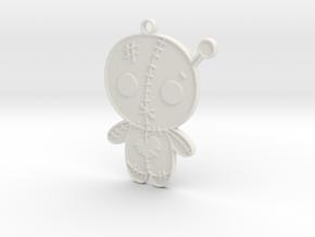 Voodoo Doll Pendant in White Natural Versatile Plastic