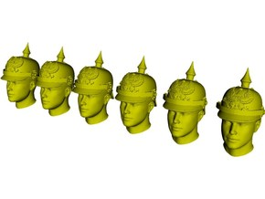 1/64 scale figure heads w pickelhaube helmets x 6 in Smoothest Fine Detail Plastic