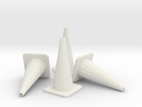 1/24 Traffic Cones X4 in White Natural Versatile Plastic