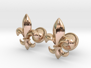 fleur de lis cufflinks in 14k Rose Gold Plated Brass