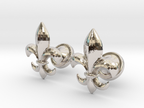 fleur de lis cufflinks in Rhodium Plated Brass