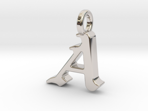A - Pendant - 2mm thk. in Rhodium Plated Brass