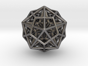 Icosa/Dodeca Combo w/nested Stellated Dodecahedron in Polished Nickel Steel