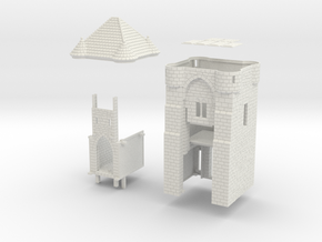 HOF021 - Castle gate tower in White Natural Versatile Plastic