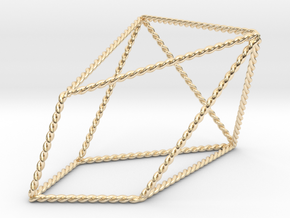 """Twisted Chestahedron 2.2"""" in 14K Yellow Gold"""